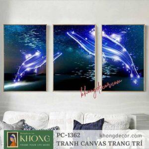 Bộ 3 tranh trang trí nghệ thuật Cá voi ngàn sao PC-1362