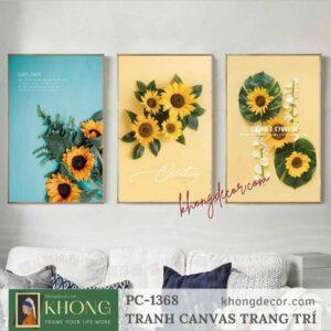Bộ 3 tranh in canvas trang trí Hoa Hướng Dương PC-1368