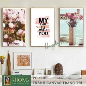 Tranh bộ 3 hoa hồng vintage tình yêu PC-1370