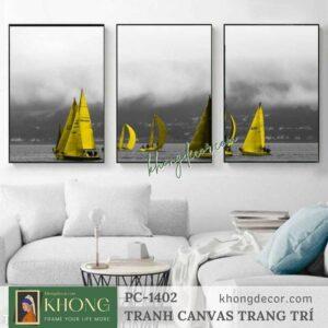 Bộ 3 tranh in thuyền buồm đơn sắc tone vàng PC-1402