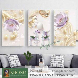 Bộ 3 tranh trang trí phòng khách hoa giả ngọc PC-1435