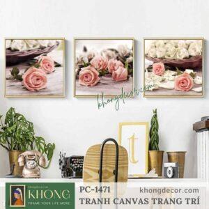 Bộ 3 tranh trang trí phòng khách hoa hồng PC-1471