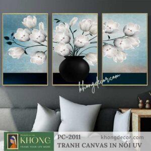 Tranh bộ 3 tranh decor phòng khách Hoa Tulip trắng PC-2011