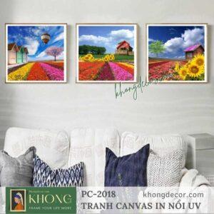 Tranh bộ 3 tranh in canvas phong cảnh Cánh đồng hoa PC-2018