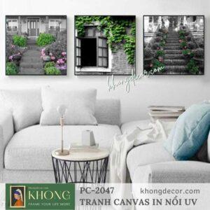 Tranh bộ 3 tranh in canvas phong cảnh nghệ thuật PC-2047